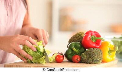 salade, femme, partage
