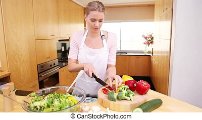 salade, préparer, femme