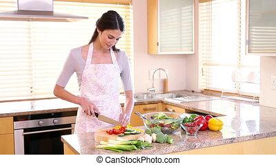 salade, préparer, femme, jeune