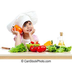 salade, sain, sur, chef cuistot, nourriture, préparer, fond, légume, girl, blanc