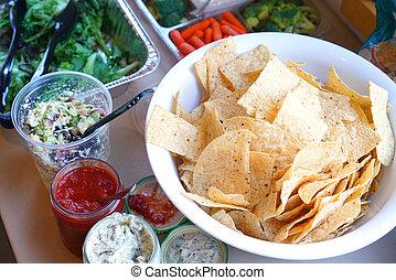 salade, sauce, chips, bol, légume, vert