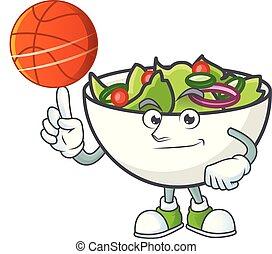 salade, tenant bassin, basket-ball, mascotte