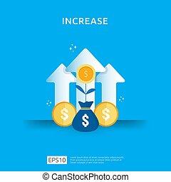 salaire, performance, increase., roi, finance, revenu, diagramme, concept, taux, revenue., element., style, illustration, flèche, vecteur, croissance, investissement, retour, conception, graphique, business, plat, marge