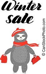 sale., lettrage, hiver, inspirationnel, inscription