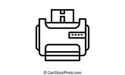 salle, animation, icône, imprimante