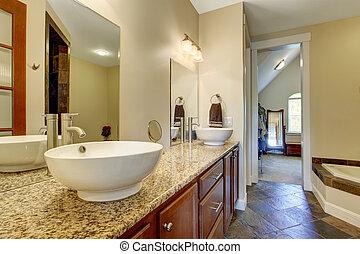 salle bains, éviers, moderne, cabinet, vaisseau, vanité