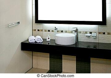 salle bains, bassin
