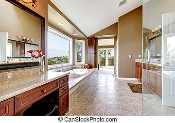salle bains, brown., moderne, grand, maître, luxe, nouveau