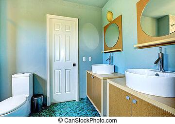 salle bains, cabinets, éviers, miroirs, vaisseau, rond, vanité