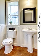 salle bains, cerise, floor., murs, vert, petit, gentil