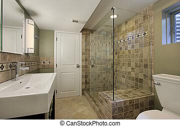 salle bains, douche, verre