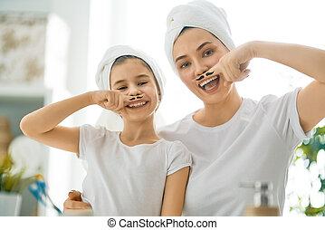 salle bains, famille