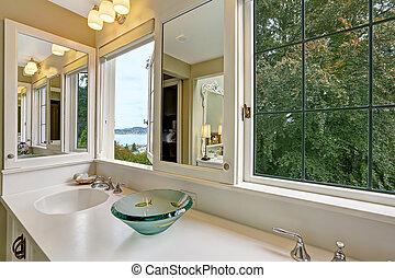 salle bains, fenetres, vue, baie, cabinet, vanité
