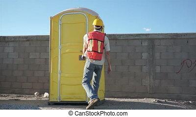 salle bains, mâle, ouvrier, portable