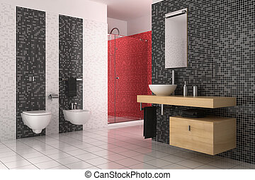 salle bains, moderne, tuiles, noir, blanc rouge