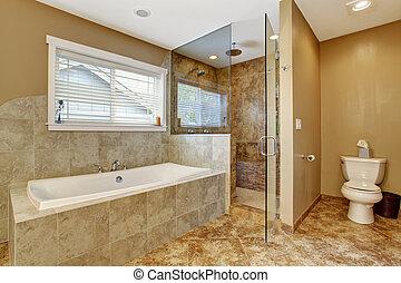 salle bains, porte, moderne, douche, verre, intérieur