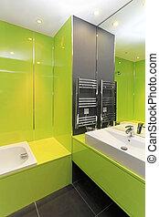 salle bains, vert