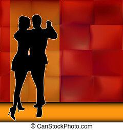 salle bal, couple, danseurs, porter, rumba, fond, illustration, américain, vecteur, latin, danse, dehors