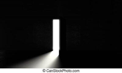 salle, briller, 6, resolution., sombre, illustration., ouverture, lumière, fond, porte, 4k, 3d, dans., secondes, clair