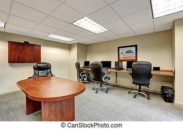 salle, bureau., moderne, petit, intérieur, réunion