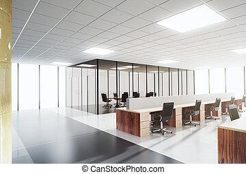 salle conférence, espace bureau, lumière, moderne, ouvert