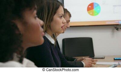 salle conférence, professionnels, bureau, 3, réunion