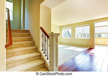 salle de séjour, escalier, maison, interior., vide