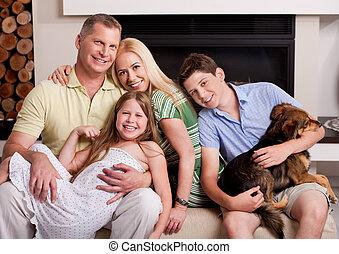 salle de séjour, famille, séance, chien domestique, heureux