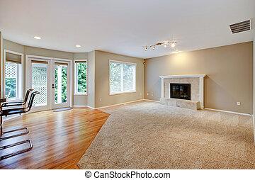 salle de séjour, grand, clair, nouveau, fireplace., vide