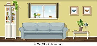 salle de séjour, illustration, classique