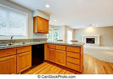 salle de séjour, maison, grand, interior., ouvert, vide, cuisine