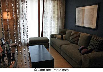 salle de séjour, maison, intérieurs, -, nouvelle maison