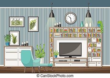 salle de séjour, moderne, illustration, équipement, intérieur