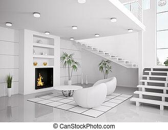 salle de séjour, render, moderne, intérieur, blanc, 3d