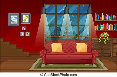 salle de séjour, scène, fond
