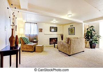 salle de séjour, sofa., clair, sous-sol, cheminée