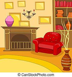 salle de séjour, vendange, fond, intérieur, dessin animé