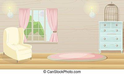 salle de séjour, vendange, vecteur, fond, dessin animé
