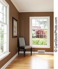 salle de séjour, windows., deux, coin, chaise