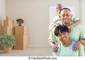 salle, famille, boîtes, américain, en mouvement, africaine, tassé