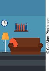 salle, fond, meublé