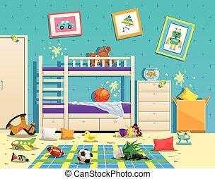 salle, intérieur, désordre, enfants