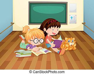 salle, intérieur, filles, deux, livres, lecture