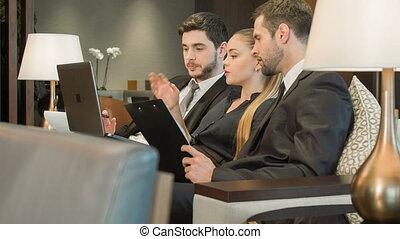 salle réunion, collègues, business