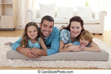 salle séjour, famille, plancher