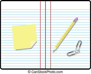 salle, texte, note collante, papier cahier, composition, ton, crayon