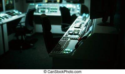 salle, vide, équipement, contrôle, central