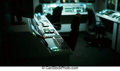 salle vide, central, contrôle, équipement