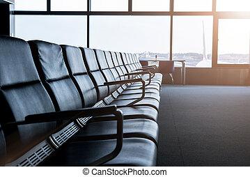salon, aéroport, départ