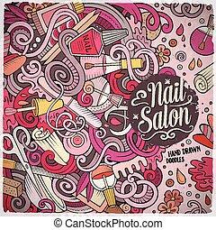 salon, cadre, clou, conception, doodles, dessin animé